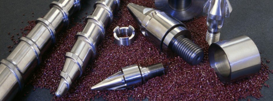 Injection feedscrew, nozzles, mixing tips for injection molding a